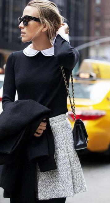 look para entrevista de trabajo , falda de invierno con camisa, look preppy, look femenino, look elegante.