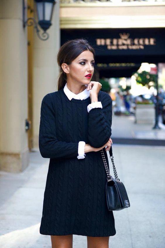 vestido de lana con camisa abajo, look para entrevista de trabajo , elegante, femenino.