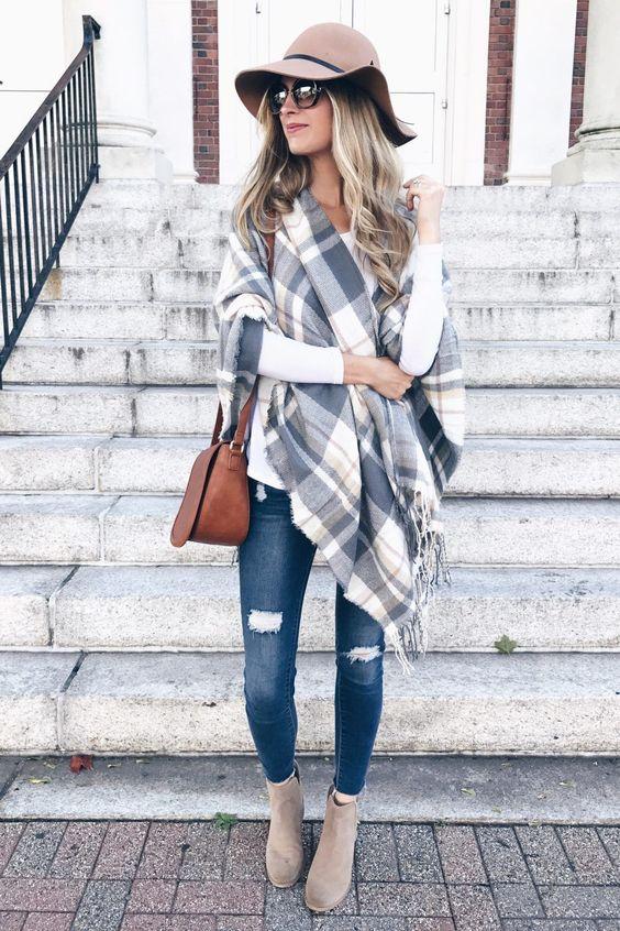 look de otoño, look entretiempo, look casual, look para el frío, ootd, fall looks, ropa de otoño, outfit otoño, ropa otoño, casual look, capa de cuadros, capa invierno, look jeans, jeans y botines.