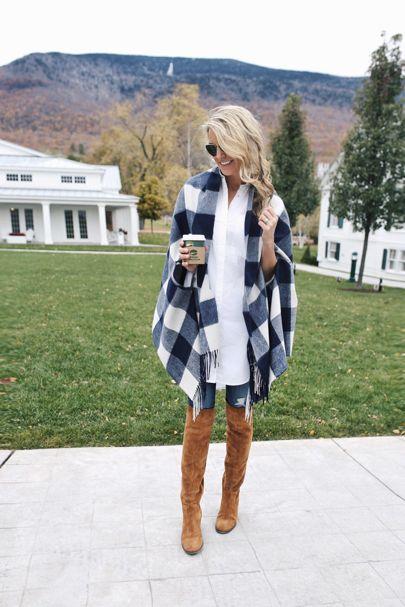look de otoño, look entretiempo, look casual, look para el frío, ootd, fall looks, ropa de otoño, outfit otoño, ropa otoño, casual look, capa invernal azul, capa invernal a cuadros, bota larga, jeans y capa larga.