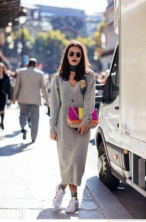 look de otoño, look entretiempo, look casual, look para el frío, ootd, fall looks, ropa de otoño, outfit otoño, ropa otoño, casual look, vestido largo, vestido de suéter, bufanda, bolsa de colores, vestido con tenis.
